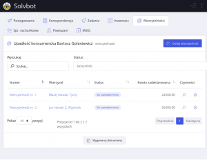 Rejestr wierzytelności - system dla syndyka - solvbot