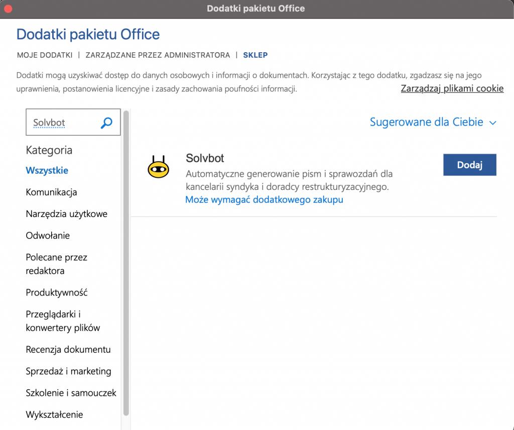 wtyczka MS Office Solvbot spersonalizowane szablony system dla syndyka